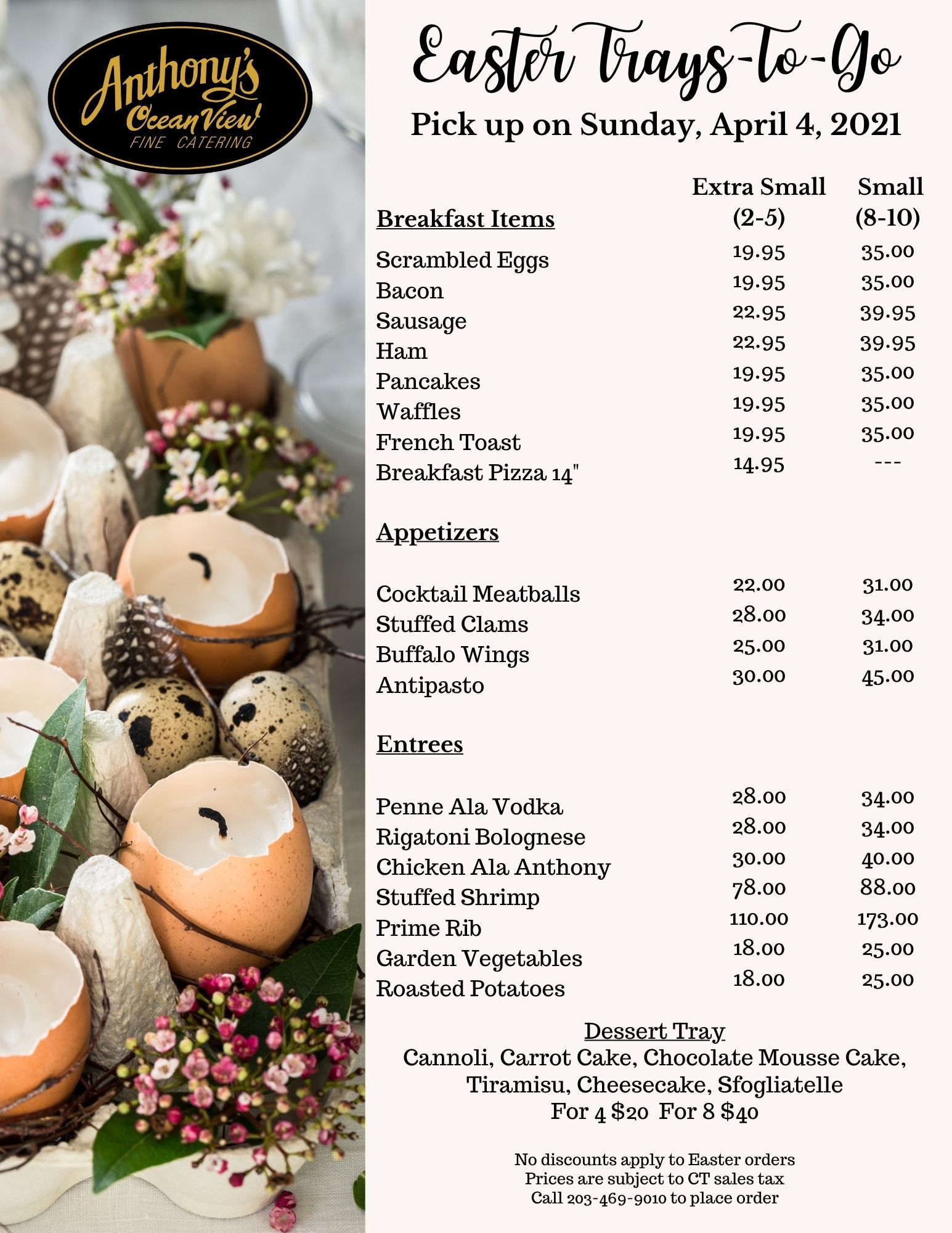 Easter Dining, Easter Dinner, Easter Event, Easter Catering, Easter Trays to go